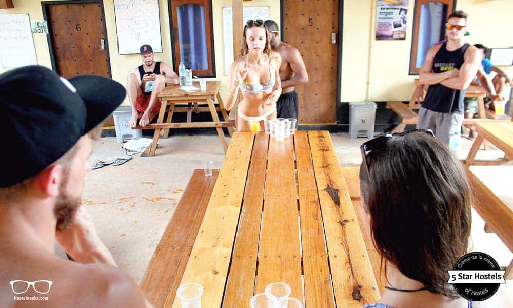 Beer Pong - another FUN game in hostels at Gili Castle Trawangan
