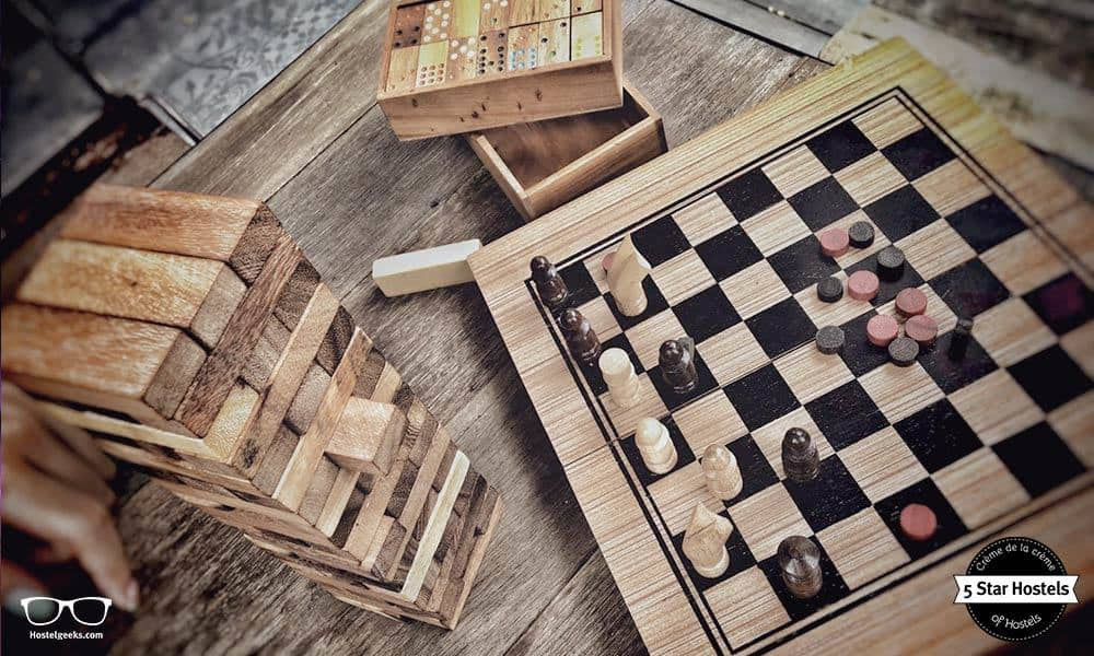 Board Games like Janga and Chess at Oxotel, 5 Star Hostel in Chiang Mai, North Thailand