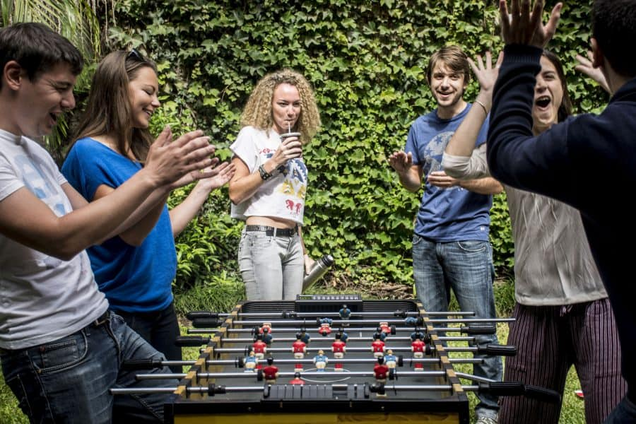 Outdoor Foosball Hostel Games at Caravan BA, 5 Star Hostel in Buenos Aires