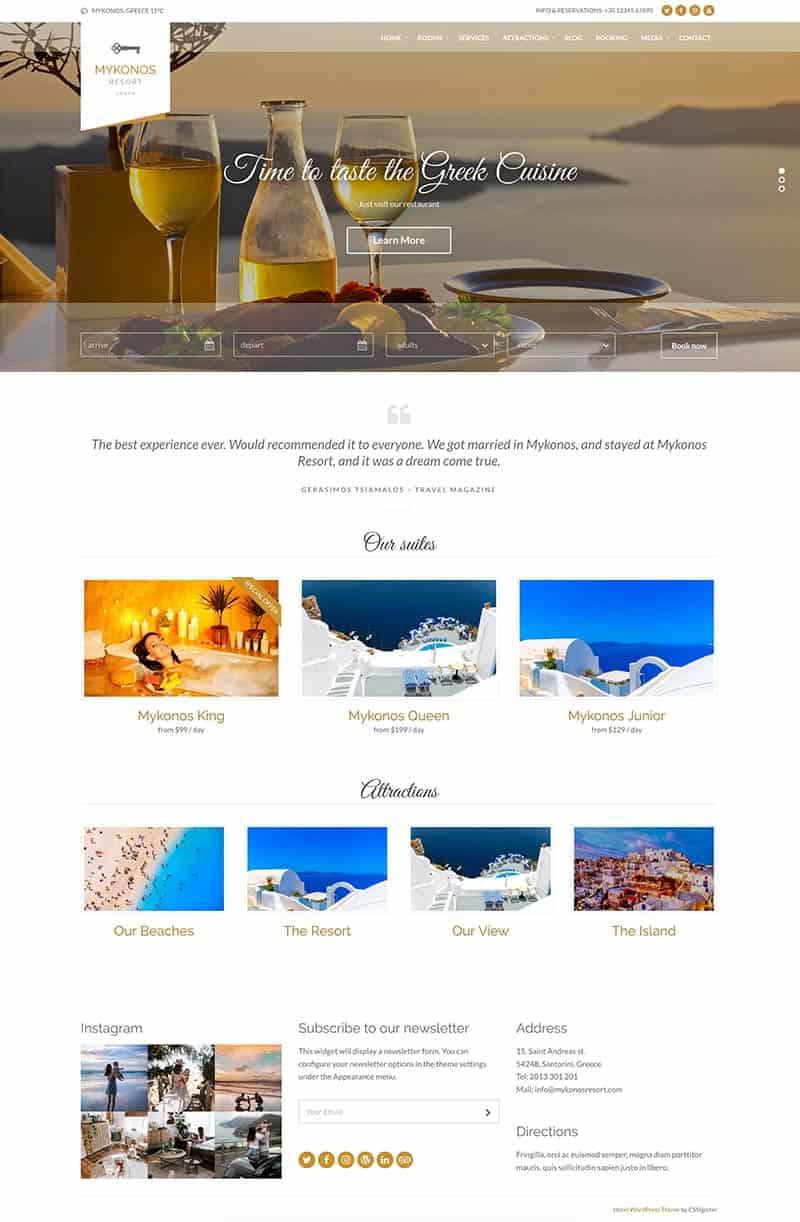 The perfect Hostel website: Mykonos Theme
