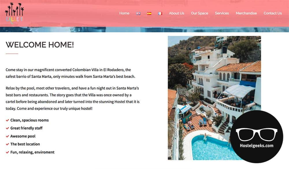 Best Hostel Websites Examples: Calle 11 Hostel in Santa Marta, Colombia