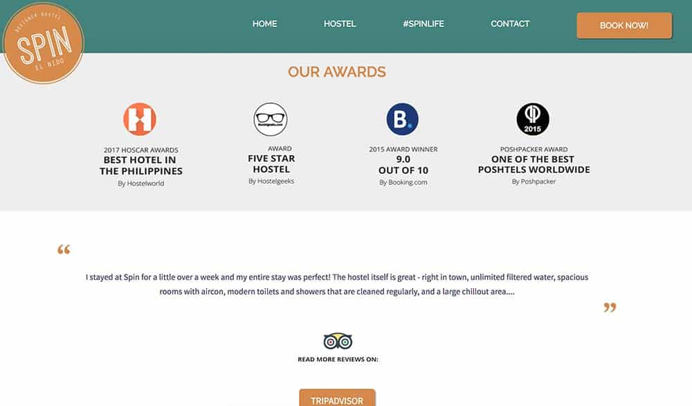 Best Hostel Websites Examples: Spin Designer Hostel - El Nido